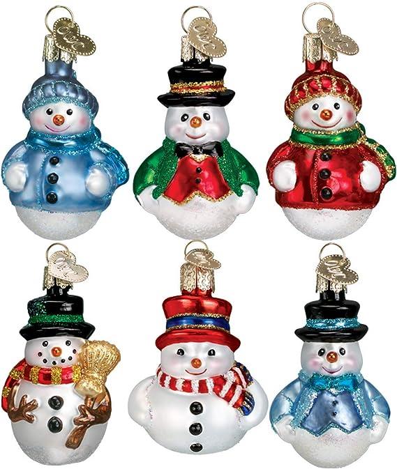 OLD WORLD CHRISTMAS MINIATURE MR SNOWY w//GREEN SCARF SNOWMAN ORNAMENT 24051