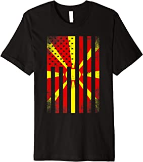 Half Macedonian Flag   Vintage American Inside Me USA Gift Premium T-Shirt