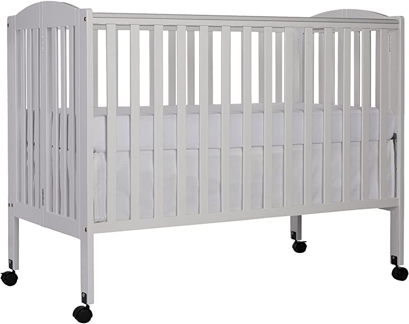 Dream On Me Full Size 2 In 1 Folding Stationary Side Crib White