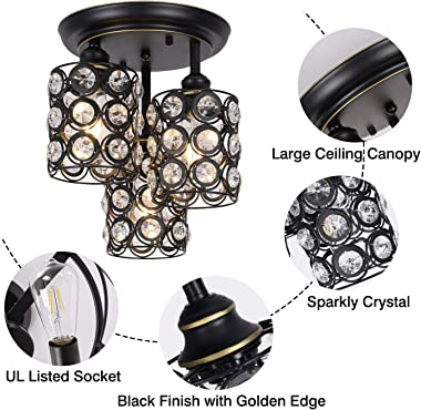 HMVPL Ceiling Lights Fixtures, 3-Lights Semi Flush Mount Kitchen Close to Ceiling Lamp, Crystal Pendant Lighting Collection f