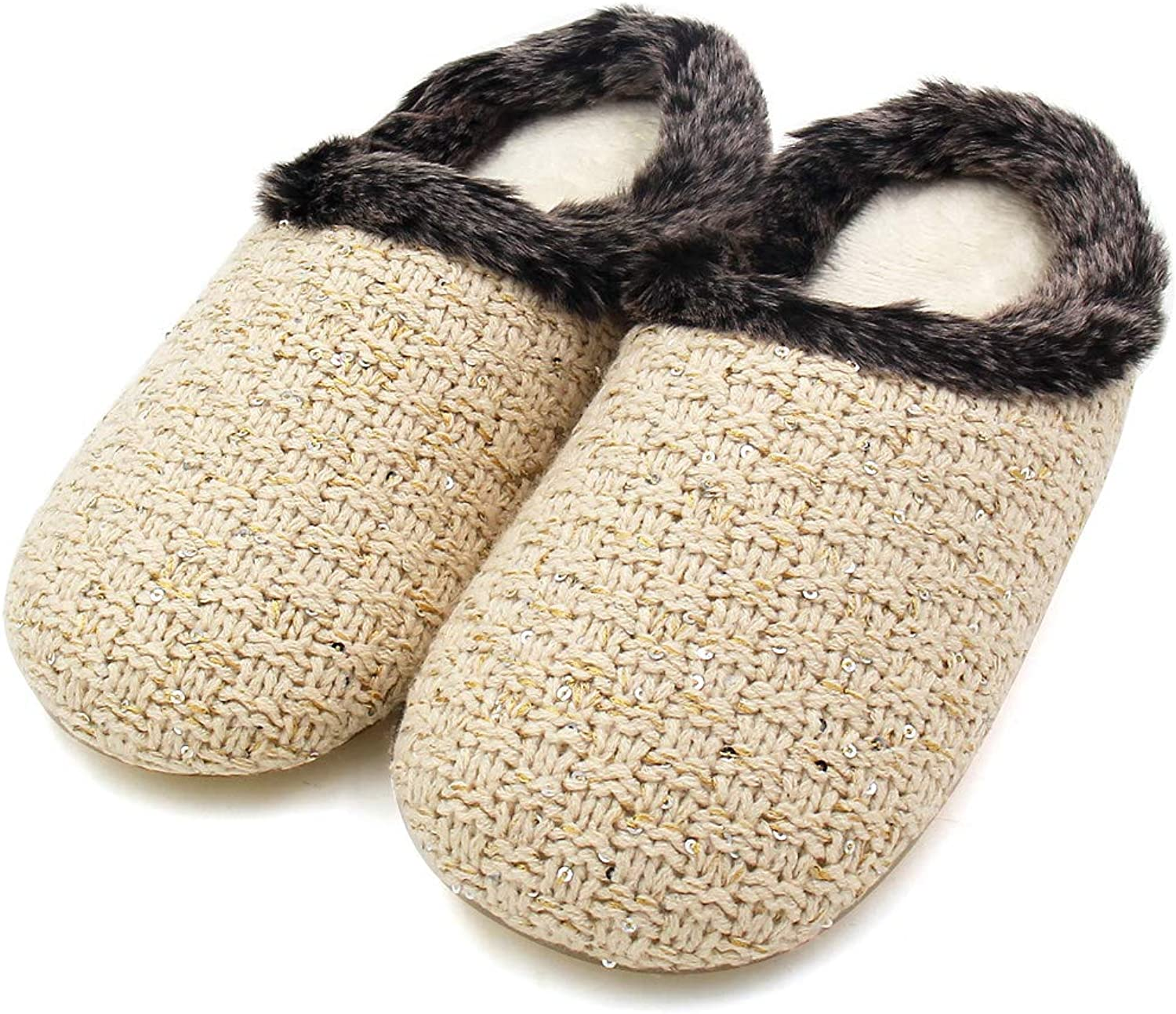 ALOTUS Women's Hand Knitted Soft Warm Woolen Slippers with Fur Indoor