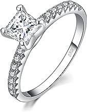 JewelryPalace 1.6ct corte princesa circonio cúbico promesa anillo solitario de compromiso de boda Plata de ley 925