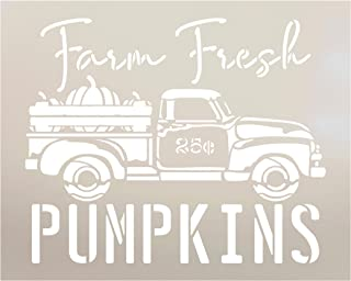 Farm Fresh Pumpkin Stencil by StudioR12 | Old Vintage Truck 25 Cents | Reusable Mylar Template | Paint Wood Sign | Craft Fall Country Home Decor | Rustic DIY Autumn Cursive Script Gift | Select Size