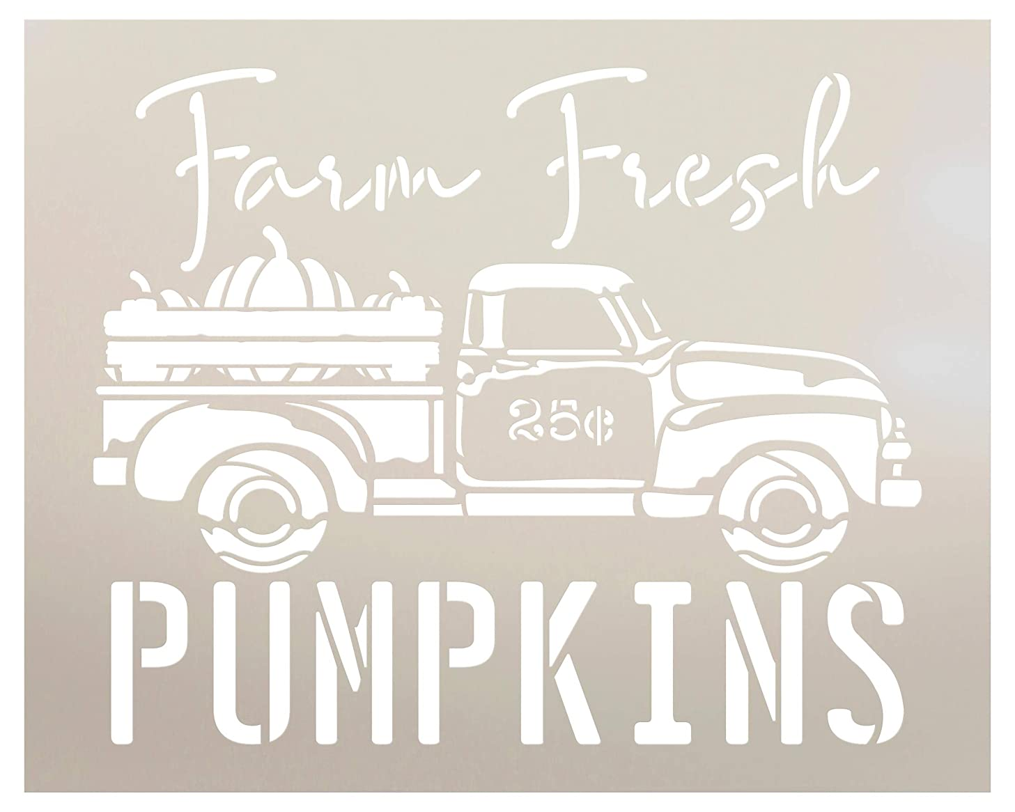 Farm Fresh Pumpkins 25 Cents with Truck Stencil by StudioR12 | Wood Signs | Word Art Reusable | Fall | Painting Chalk Mixed Media Multi-Media | Use for Journaling, DIY Home - Choose Size (8