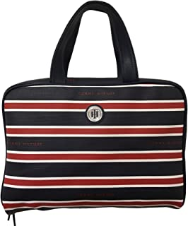 Tommy Hilfiger Folding Cosmetic Case Red White and Navy Striped Travel Bag Organizer