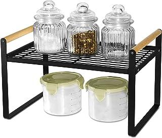 Étagère de cuisine en fer et poignée en bois, idéale pour la maison, la cuisine et les placards, noir (32 x 21 x 20)