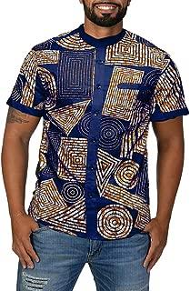Mens African Print Shirts Casual Button Up Shirts Tribal Dashiki Short Sleeve Banded Collar T-Shirts