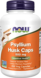 NOW Supplements, Psyllium Husk Caps 500 mg, Non-GMO Project Verified, Natural Soluble Fiber, Intestinal Health, 200 Veg Ca...
