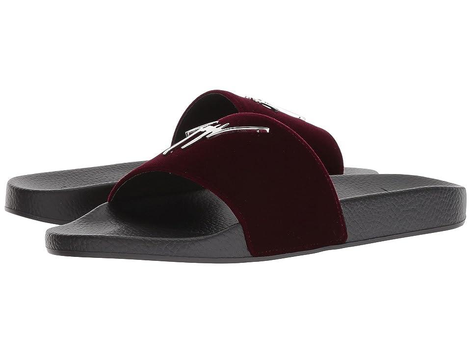 2e2d831a27c Giuseppe Zanotti Burel Velvet Slide (Amaranto) Men s Slide Shoes