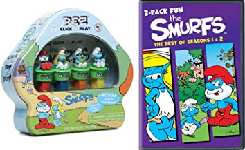 Munch Play Watch Bundle Little Blue Smurfs 4 Pack Kids Movie Feature + Pez Tin Candy Collectible Family Movie Bundle Legend Smurfy Hollow / Christmas Carol / Part 1 & 2