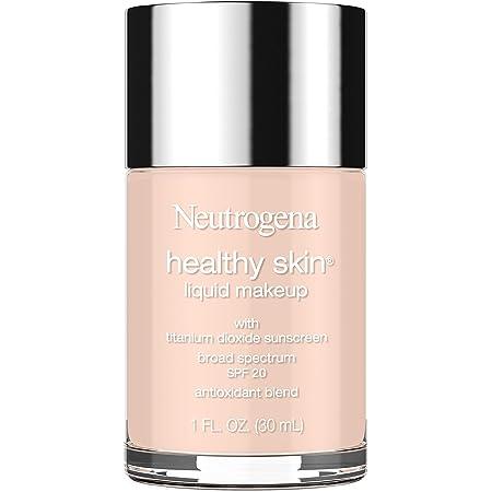 Neutrogena Healthy Skin Liquid Makeup Foundation, Broad Spectrum SPF 20 Sunscreen, Lightweight & Flawless Coverage Foundation with Antioxidant Vitamin E & Feverfew, Natural Ivory, 1 fl. oz