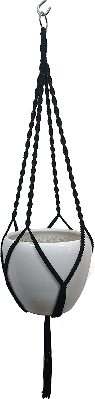 MCHANG 4 Legs Polypropylene fiber Rope Macrame Plant Hanger Hanging Planter Holders Black/& White Color 48-inches for 10-12 Pot Black
