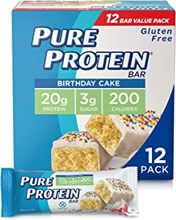 Pure Protein Bars, High Protein, Nutritious Snacks to Support Energy, Low Sugar, Gluten Free, Birthday Cake, 1.76 oz, Pack of 12
