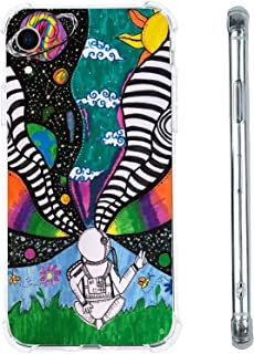 Hippie Astronaut Space Planets Case for iPhone XR, Cool Aesthetic Indie Tie Dye Astronaut Case for Women Girls, Unique Tre...