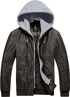 Men's Faux Leather Jacket Moto Hoodie Jacket PU Outwear Warm Jacket