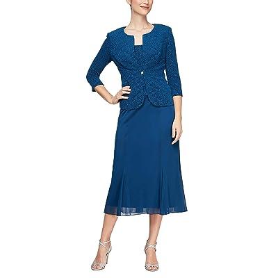 Alex Evenings Tea Length Button-front Jacket Dress