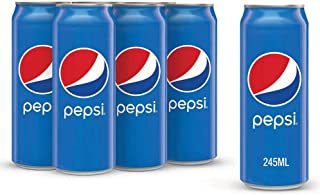 Pepsi Carbonated Soft Drink, Cans, 6 x 245 ml