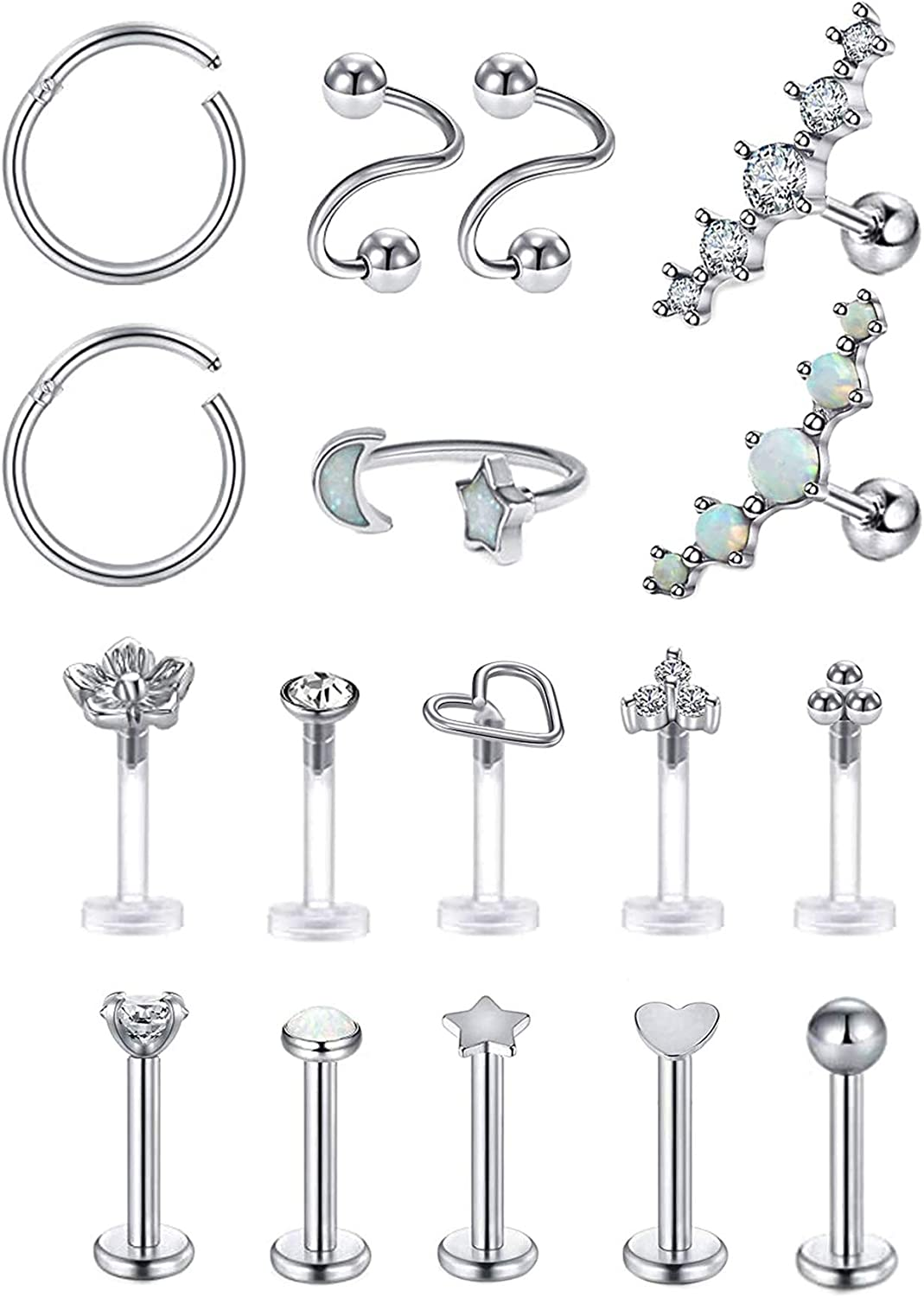 Masedy 17Pcs Stainless Steel Tragus Earrings Studs Cartilage Helix Daith Earring Labret Lip Ring Body Piercing Jewelry