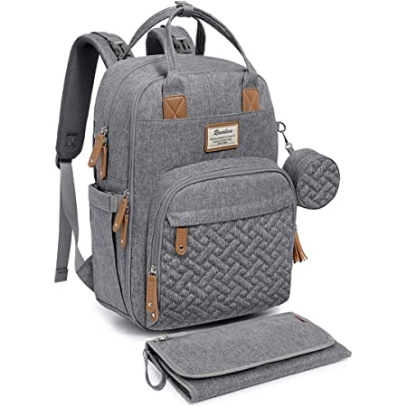 Diaper Bag Backpack, RUVALINO Neutral All-in-One Baby Bags for Boy Girl, Multifunction Large Travel Backpack with Portable Changing Pad, Stroller Straps, Pacifier Case and Insulated Pockets, Gray