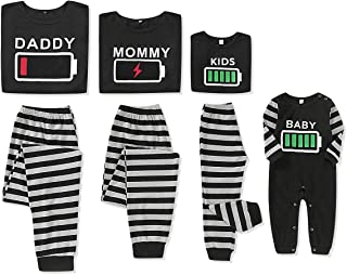 Holiday Family Matching Pajamas Cotton Pjs Set Sleepwears Long Sleeve Battery Tops Striped Pajamas Pant Family Jammies Set