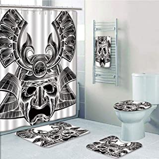 Bathroom 5 Piece Set shower curtain 3d print Customized,Japanese,Vintage Ancient Experienced Japanese Soldier Mask with Royal Lines and Shapes,White Black,Bath Mat,Bathroom Carpet Rug,Non-Slip,Bath To