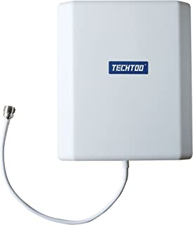 TECHTOO 3G 4G LTE Antenna Indoor Outdoor 12dBi Directional Wide Band WiFi Antenna 698-2690MHz Panel Antenna Wall Mounting Kit for Cellphone Signal Amplifier/MiFi Jetpack/Mobile Hotspot
