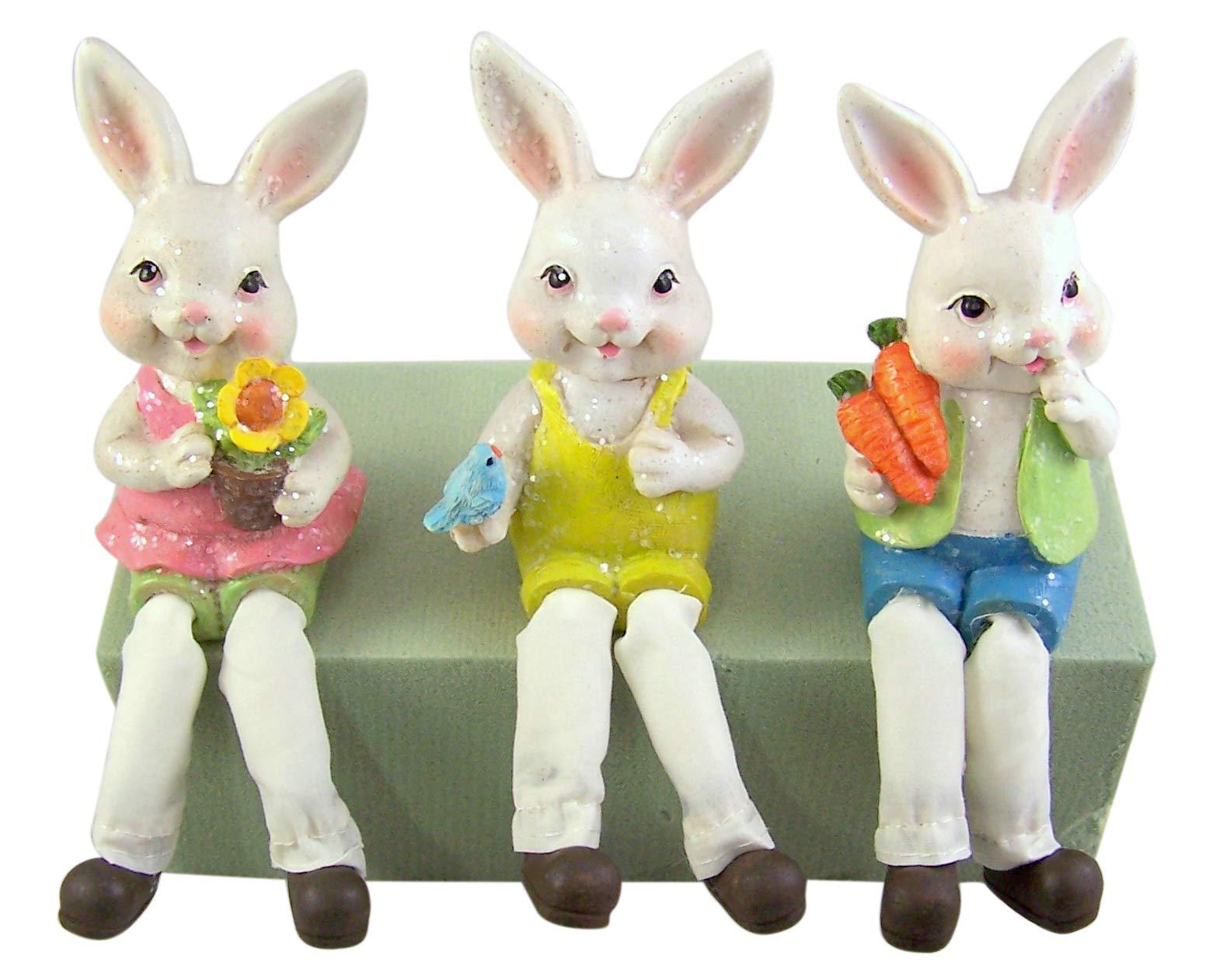 L Bongjas Dream Handmade Wooden Easter Bunny Shelf Sitter Rabbit