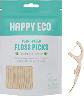 Happy Eco - Natural Dental Floss Picks (200count) - BPA Free, Vegan, Sustainable Flossers for Eco-Friendly Teeth Cleaning- Pack of 4 (200 Count Mint, Charcoal) (Mint, Double Thread)