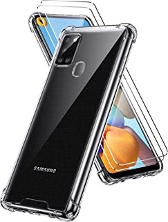 Samsung Galaxy A21S Case with Tempered Glass Screen Protector, Crystal Clear Shock Absorption Ultra Slim Cases Soft TPU Fu...