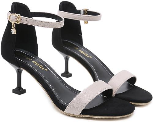 RUGAI-UE Sandales à Talons Hauts Lady's, daims européens et américains, Orteils, fermoirs élancés, Chaussures pour Femmes.