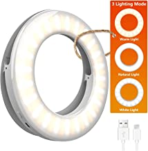 Selfie Light Ring Lights LED Circle Mini Light, Rechargeable 3 Light Modes Makeup Fill Light Cell Phone Tablet Laptop Came...
