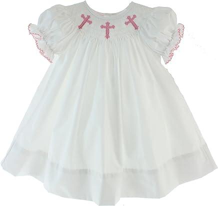 41ed3daee Petit Bebe Girls White Christening Dress Pink Smocked Crosses (24m)