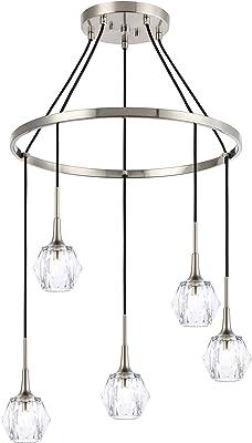 Woodbridge Lighting 21128STNLE-C30410 Chandelier, Nickel/Nickel