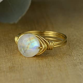 Round Rainbow Moonstone Coin Shaped Gemstone Sterling Silver, Yellow or Rose Gold Filled Wire Wrapped Ring- Custom made to size 4-14
