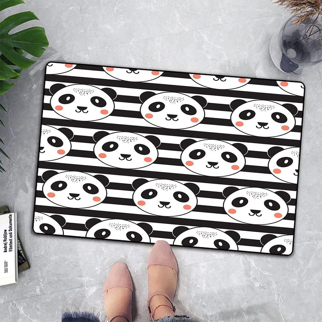 Kids outlet Room Decor Door Mat Rug Pattern on Backg Striped Cute Manufacturer OFFicial shop Panda