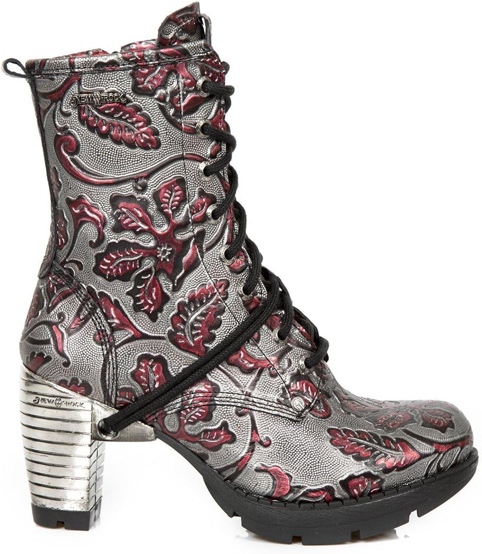 New Rock M.TR001-S6 M.TR001-S6 M.TR001-S6 Mädchen Damen Stiefel Stiefeletten Rot Leder Glattleder Ferse Schnüren Punk Heavy Gotisch  8c6258