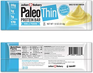Julian Bakery Paleo Thin Protein Bar | Vanilla Pudding | Grass-Fed Beef | 20g Protein | 1 Net Carb | 12 Bars