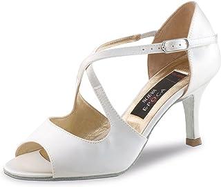 Nueva Epoca – Scarpe da sposa/ballo/ballo/scarpe da danza Mable – bianco satinato, 6 cm