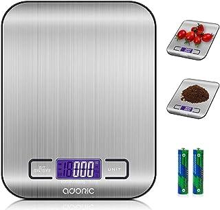 ADORIC Báscula digital electrónica profesional, con pantalla LCD, precisión hasta 1 g (peso máximo 5 kg), color plateado