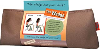 Effective Posture Correction Cushion for Office Chair, Car Seat and Travel - Back Pain and Sciatica Relief and Lumbar Support with Simple, Unique Orthopedic Wedge Pillow Features - Made in USA, Tan