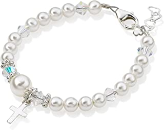 Delicate Sterling Silver Cross Charm Baby Girl Bracelet - with White Swarovski Simulated Pearls, Crystals and Silver Daisy Spacers - Best Baptism and Christening Gift for Girls