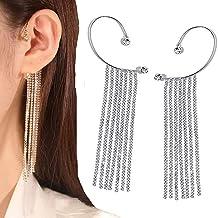 YAYANG Sprankelende diamanten kwastjes oorbellen, lange hangende ketting oorbellen voor vrouwen, bengelende oormanchet oor...