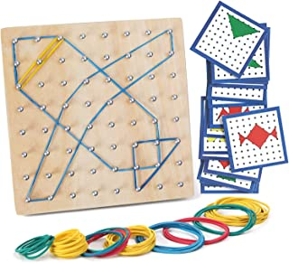 Wooden Geoboard Mathematical Manipulative Array Block Geo Board Graphical Educational Toys with 23 Pcs Pattern Cards Latex...