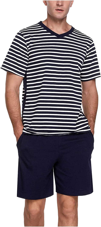 JSPOYOU Men's Short Cotton Striped V-Neck Pyjama Set Summer Two Piece Sleepwear for Men