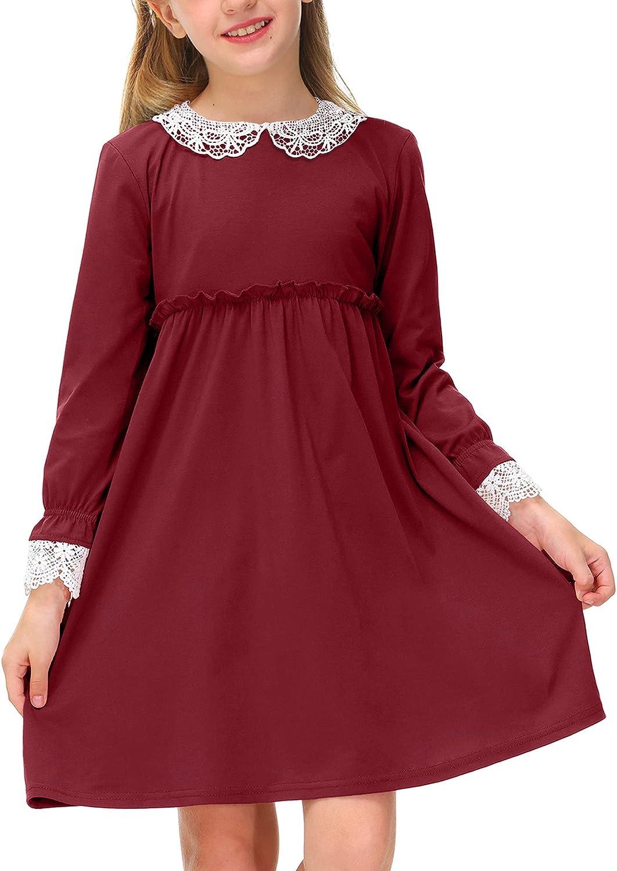 BesserBay Girl's Lace Peter Pan Collar Elastic Waist Long Sleeve Swing Dress 1-10 Years