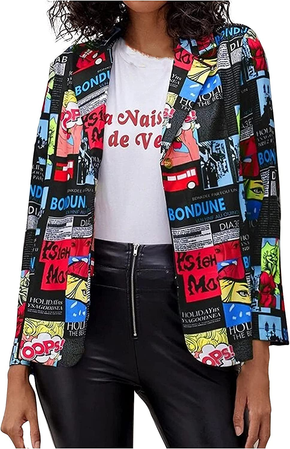 Y2K Fashion Jackets For Women Newspaper Does Not Locate Printed Formal Suit Slim Party Club Pockets Open Front Cardigan Coats