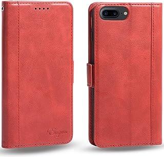 iPhone8 Plus ケース 手帳型 iPhone7Plus 6sPlus カバー 財布型 アイフォン6plus 6s plus 7plus 8plus 四機種対応 マグネット式 横置き機能付き カード収納 Qi充電対応 ストラップ通し穴 高級PUレザー Engun iPhone6プラス/6sプラス/7プラス/8プラスに対応 レッド-sy79-