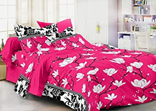 Homefab India 140 TC 3D Floral Double BedSheet with 2 Pillow Cover - Pink