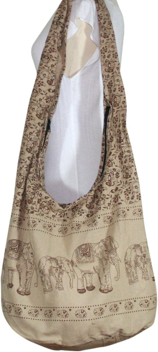 Thai Hippie Bag Elephant Sling Crossbody Bag Purse Zip Handmade New Color Light Brown,XL