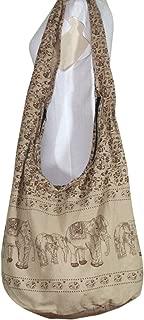 Thai Hippie Bag Hippie Elephant Sling Crossbody Bag Purse Thai Top Zip Handmade, DJ-NO-889168, Bright Blue, X-Large